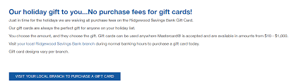 no fee gift cards ny only ridgewood savings bank no fee mastercards only