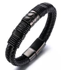 white leather bracelet images Halukakah quot volcano quot men 39 s genuine leather bracelet with titanium jpg