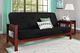 essential home heritage convertible futon with cherry wood arms