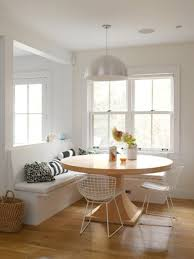 Breakfast Nook Table by Bright White Breakfast Nook Design Idea With Round Oak Table And