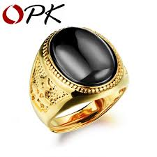 men ring black green agate men ring gold plated new arrival high