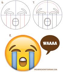 how to draw sobbing crying emoji face with easy steps lesson how
