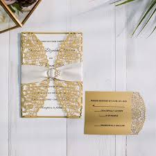 gold wedding invitations gold laser cut wedding invitations with matching rsvp