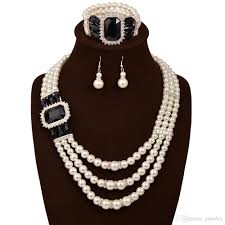ladies necklace sets images 2018 pearl jewelry set new fashion simulated plastic pearl beads jpg