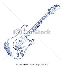 vector illustration of electric guitar sketch of an electric