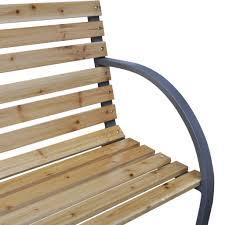 vidaxl iron frame garden bench with wood slats amazon co uk