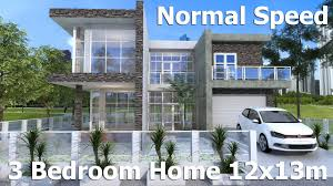 sketchup modern home design 12x13m normal speed youtube