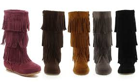 groupon s boots s three layer fringe boots groupon
