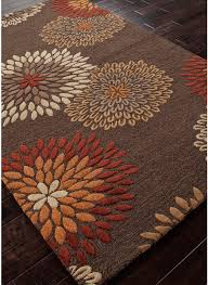 Orange Modern Rug Modernrugs Orange Brown Beige Floral Modern Traverse