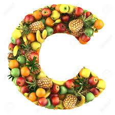 letter c made of fruits isolated on a white stock photo picture