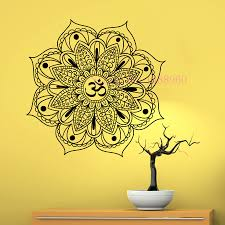Yoga Home Decor by E273 Yoga Mandala Indian Mehndi Buddha Oum Om Symbol Mascot Mantra
