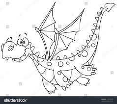 outlined flying dragon vector illustration coloring stock vector