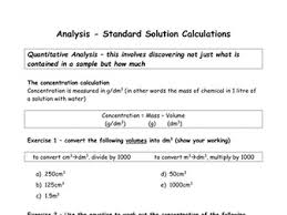 concentration calculations worksheet for gcse by beccykg