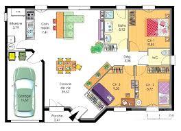 plan maison plain pied 100m2 3 chambres plan de maison 100m2 plein étourdissant plan de maison 100m2 3