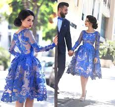 2017 royal blue sheer long sleeves lace cocktail dresses scoop