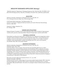 Sample Research Resume by Phd Cv Biotechnology