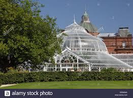 the glasgow green victorian winter gardens in summer scotland uk