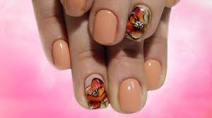 orange poppies beautiful and simple spring nail design top 2017