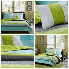 Girls Striped Bedding by Girls Twin Size Coverlet Quilt Set Teal Blue Green Striped Bedding