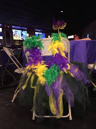 mardi gras decorated tutu chair with colorful boa mardi gras