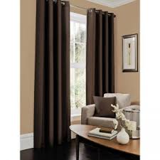 Chocolate Curtains Eyelet Faux Silk Fully Lined Eyelet Curtain 66