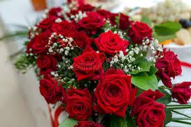 fresh flowers fresh flowers decoration roses at wedding table closeup stock