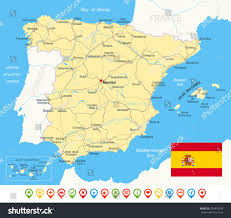 Spain Map Spain Map Flag Navigation Icons Roads Stock Vector 254876338
