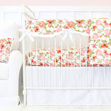 Coral Nursery Bedding Sets by Maya U0027s White And Coral Floral Bumperless Crib Bedding Caden Lane