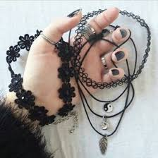 black charm choker necklace images Jewels necklace accessories grunge accessory tattoo coker jpg