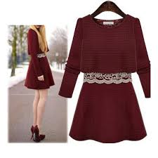 casual dress red long sleeved mini