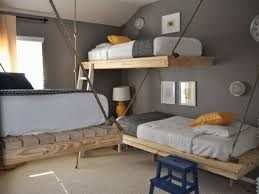 entrancing rustic wooden hanging bed combined terrific grey wall