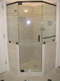 bathroom frameless shower doors with black handle plus white