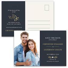save the date post cards photo save the date postcards navy gold leaves
