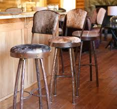 bar stools wood and metal bar stool with swivel frame rustic