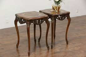 antique wood end tables pair carved vintage end or l tables inlaid marquetry burl tops