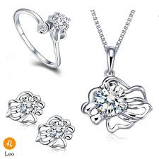 crystal ring necklace images Wedding jewelry kit cute constellation leo silver jewelry set jpg