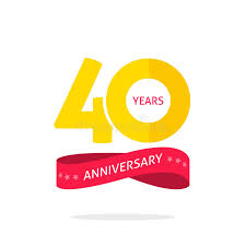 logo ribbon 40 years anniversary logo 40th anniversary icon label with ribbon