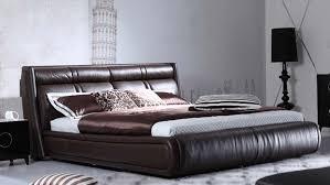 Leather Platform Bed Soho Leather Contemporary Platform Bed Brown Zuri Furniture