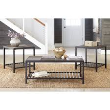 ashley furniture chelner 3pc occasional table set in dark gray