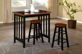 Breakfast Bar Dining Set Kitchen Table And  Stools Black Tile - Kitchen breakfast bar tables