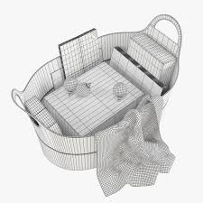 pottery barn hayes leather storage basket 3d model max obj fbx mtl mat