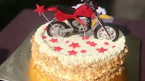 motorcycle cake up birthday cake with nuts and vanilla decorated with