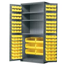 3 Bin Cabinet Akro Mils Metal Storage Cabinet Louvered Doors Shelves Lock