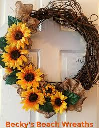 sunflower wreath grapevine wreath sunflower wreath burlap wreath fall wreath