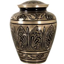 funeral urn ornate etched black and brass cremation urn