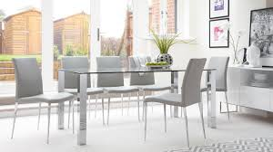 Rectangular Clear Glass Dining Table Chrome Legs UK - Glass for kitchen table