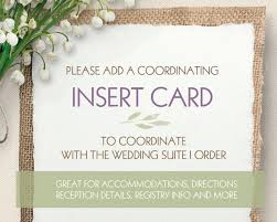 photo insert cards add on wedding insert cards flat accommodations directions