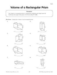 volume of rectangular prism worksheets worksheets