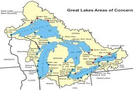 canadian map with great lakes great lakes aocs status map great lakes areas of concern us epa