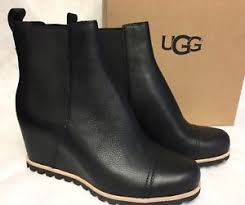 s ugg black leather ugg australia s pax chelsea wedge boots black leather